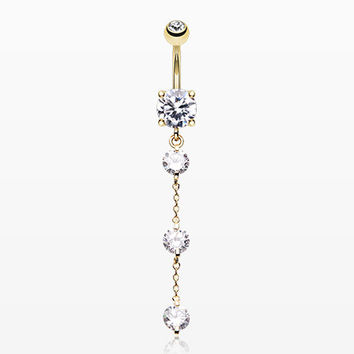 Golden Triple Crystal Droplets Belly Button Ring