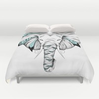 Poetic Elephant Duvet Cover by LouJah