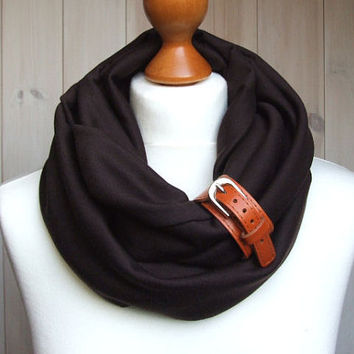Infinity Scarf in Chocolate BROWN Infinity circle Loop with leather cuff, infinity scarves