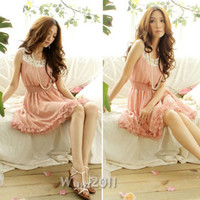 Elegant Women Sleeveless Ruffles Casual Chiffon Summer Tunic Shirred Dress Pink