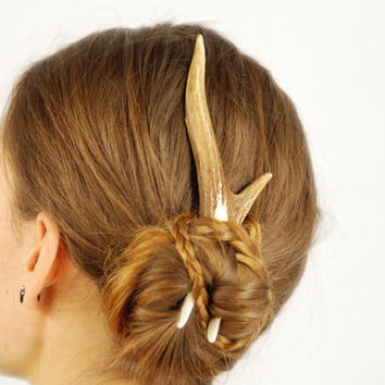 Natural antler hair accessory, fork comb pin bone deer roe horn organic sustainable medieval gothic wedding haar steampunk indie unusual eco