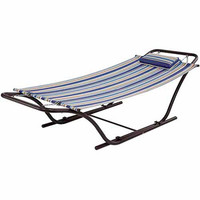 Walmart: Mainstays Folding Sling Hammock with Stand, Blue Stripe