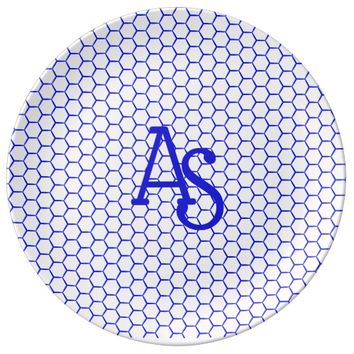 Blue pattern. Hexagonal grid. Monogram. Dinner Plate