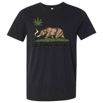 California Republic Weed Bear Asst Colors Mens Fitted Tee