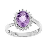 Sparkle Gem Amethyst & Cubic Zirconia Sterling Silver Oval Halo Ring (Purple)