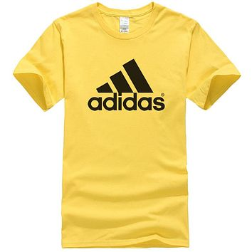 Adidas Summer New Fashion Bust Letter Print Women Men Sports Leisure Top T-Shirt Yellow
