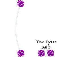 Purple Dice Pregnant Belly Button Ring   Body Candy Body Jewelry