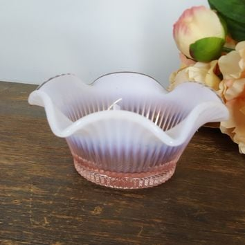 Vintage 1980s Fenton Pink And White Opalescent Ruffled Glass Candy Bowl