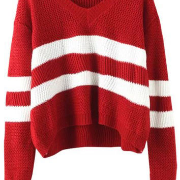 Wine Red V Neck Striped Long Sleeve Sweater