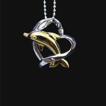 YELLOW GOLD PLATED HAWAIIAN DOLPHIN SILVER 925 HIGH POLISH SHINY HEART PENDANT