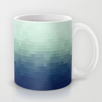 Pixel Gradient Aqua Mug by Raquel Catalan Designs