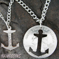 Anchor Inside and outside pieces relationship necklace hand cut coin
