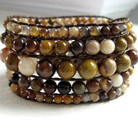 NEW Gemstone Beaded Leather Cuff Bracelet - Autumn Colors - Wood Agate