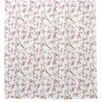 Sakura Cherry Blossom Print Shower Curtain