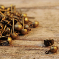 Antique Brass Bronze Earring Posts Studs with Connector Hoop 10pcs Jewellery Findings Jewellery Making diyforstyle