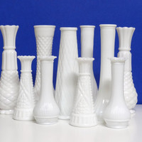 Lot of 10 Beautiful Milk Glass Vases - Wedding, Shabby Chic, Outdoor Party