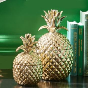 Gold Pineapple Decorative Storage Jar