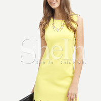 Yellow Crew Neck Scallapped Hem Dress -SheIn(Sheinside)