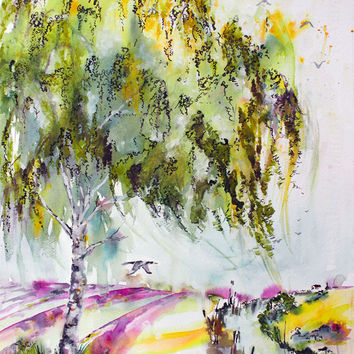 Dreaming Of Provence - Original Watercolor and Ink by Ginette Callaway