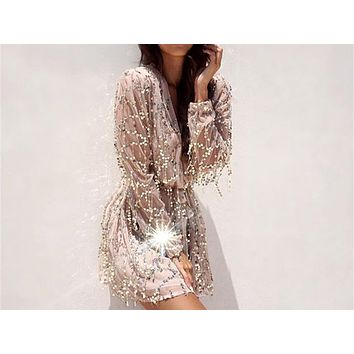Fashion fringed sequined dress V-neck embroidered lantern long-sleeved dress