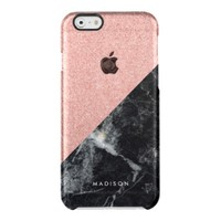 Faux Rose Glitter and Black Marble Texture Uncommon Clearly™ Deflector iPhone 6 Case