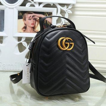 DCCKJG8 Gucci Women Leather Bookbag Shoulder Bag Handbag Backpack