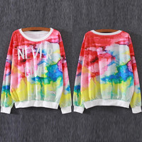 "MultiColor ""NEVER GIVE UP"" Printed Sweatshirt"