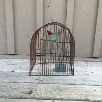 Rustic Bird Cage, Vintage Rusty Bird Cage, Cottage Chic Home Decor, Modern Rustic Decor, Primitive Garden Decor, Wedding Decor