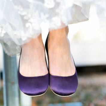Wedding Shoes - Purple Wedding Shoes/Purple Wedding Flats, Purple Flats, Purple Satin Flats, Purple Shoes with Ivory Lace. US Size 9