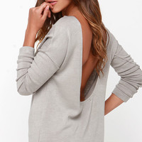 LULUS Exclusive Won't Back Down Grey Long Sleeve Sweater Top