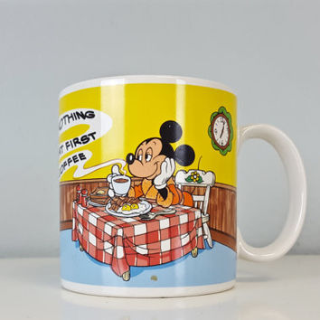 Vintage Mickey Mouse Disney Applause Mug Nothing Like That First Cup of Coffee, Coffee Lover Gift, Coffee Lover Mug, Mickey Collectible Mug