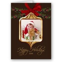 Gold Ornament Frame Photo Christmas Card from Zazzle.com