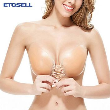 Adhesive Silicone Bra Reusable Seamless Backless Strapless Reggiseno Invisible Silicon Push-up Bra for Women Stick On Fly bras