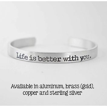 Custom Available Stamped Jewelry 3//8 Wide Bangle Bracelet Follow Your Dreams Copper Cuff Bracelet