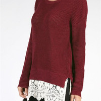 Fall into Place Lace Trimmed Oversized Sweater - Burgundy