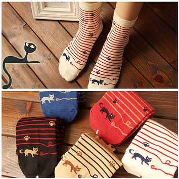 2015 High Quality Female  Cat Footprints 5Colors Striped Cartoon Socks Women Cotton Floor length sock for Lady girls