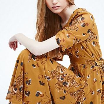 Free People Georgette Bonnie Printed Dress in Yellow - Urban Outfitters