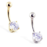 14K Gold Belly Ring with Brilliant Round 6mm Diamond CZ