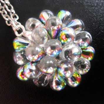 Rainbow Berry Necklace - Wedding statement necklace