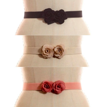 Rosettes Elastic Belt - Black, Blush or Ivory