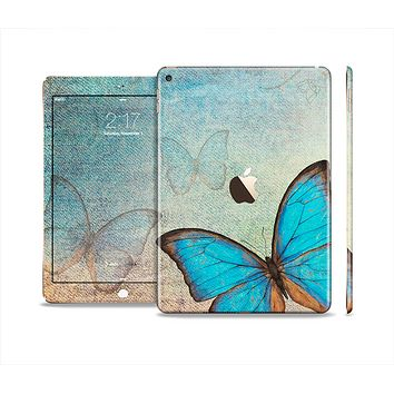 The Vivid Blue Butterfly On Textile Skin Set for the Apple iPad Air 2