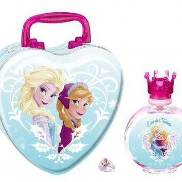 DISNEY FROZEN METAL SET: 3.4 EDT SP + RING + METAL LUNCH BOX