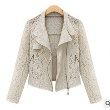 New Women's Boutique Fashion Lace Hollow Metal Zipper Thin Lapel Long Sleeve Jacket  coat outwear = 1932270084