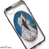 Cruella Deville Disney Villains Phone Case Glitter iPhone 6 5 5s 4 Cruella de Vil Phone Case Cover 101 Dalmatians Samsung Galaxy s5 s4 Case