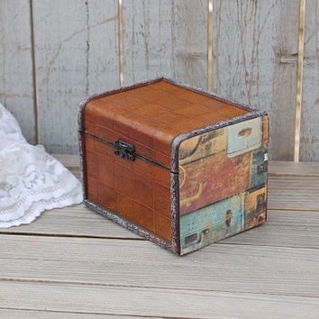 Jewelry Box, Recipe Box, Chest, Leather, Wood, Upcycled, Decoupage, Rustic, Mens Jewelry Box