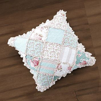 "DaDa Bedding Patchwork Hint of Mint Floral Cotton Patchwork Ruffle Euro Pillow Sham, 26"" x 26"" (JHW3036)"