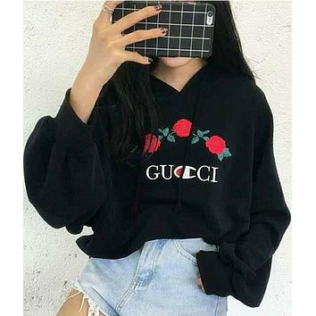 Black GUCCI Embroidered Rose Flower Hoodie Sweatershirt