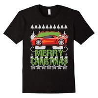 Sports Car Merry Christmas Ugly Sweater Style T-shirt