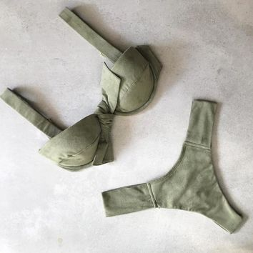 Summer New Fashion Solid Color Straps Two Piece Bikini Swimsuit Army Green