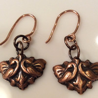 Copper Victorian Style Bird Earrings
